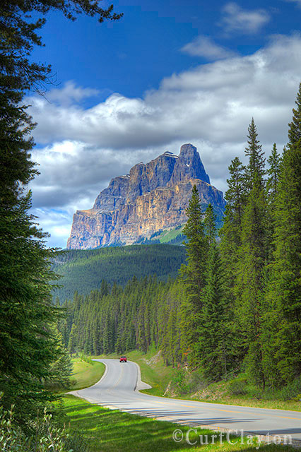 Castle Mountain from the Bow Valley Parkway. Photographed by architectural photographer Curt Clayton.