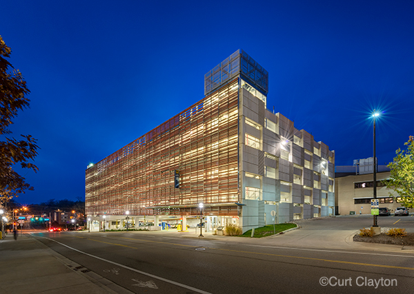 Twiligt photograph of the Ann Street Parking Deck in Ann Arbor, Michigan