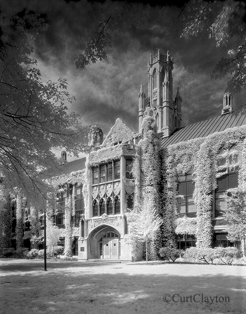 Dillon Hall at the University of Windsor. Black & white infrared.